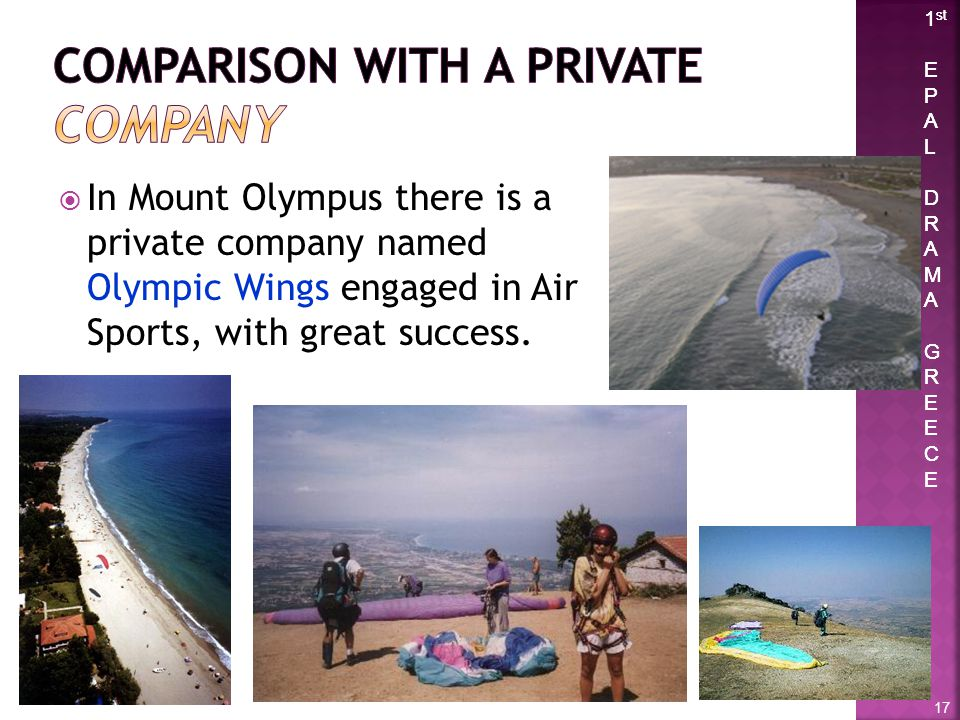 1 st E P A L D R A M A G R E C E 1 st E P A L D R A M A G R E C E In Mount Olympus there is a private company named Olympic Wings engaged in Air Sport