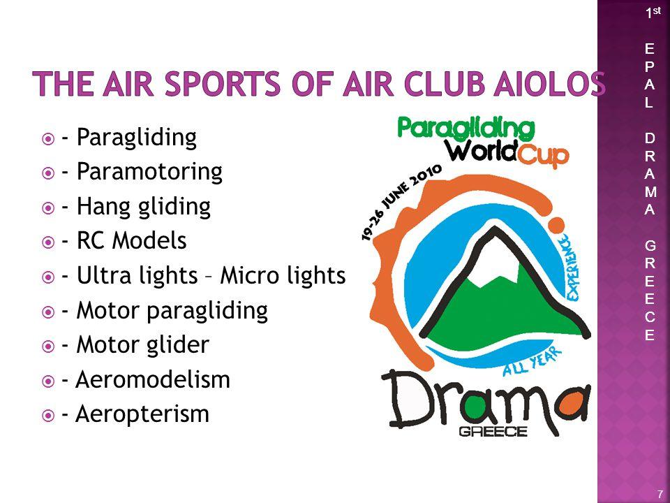 1 st E P A L D R A M A G R E C E 1 st E P A L D R A M A G R E C E - Paragliding - Paramotoring - Hang gliding - RC Models - Ultra lights – Micro lights - Motor paragliding - Motor glider - Aeromodelism - Aeropterism 7