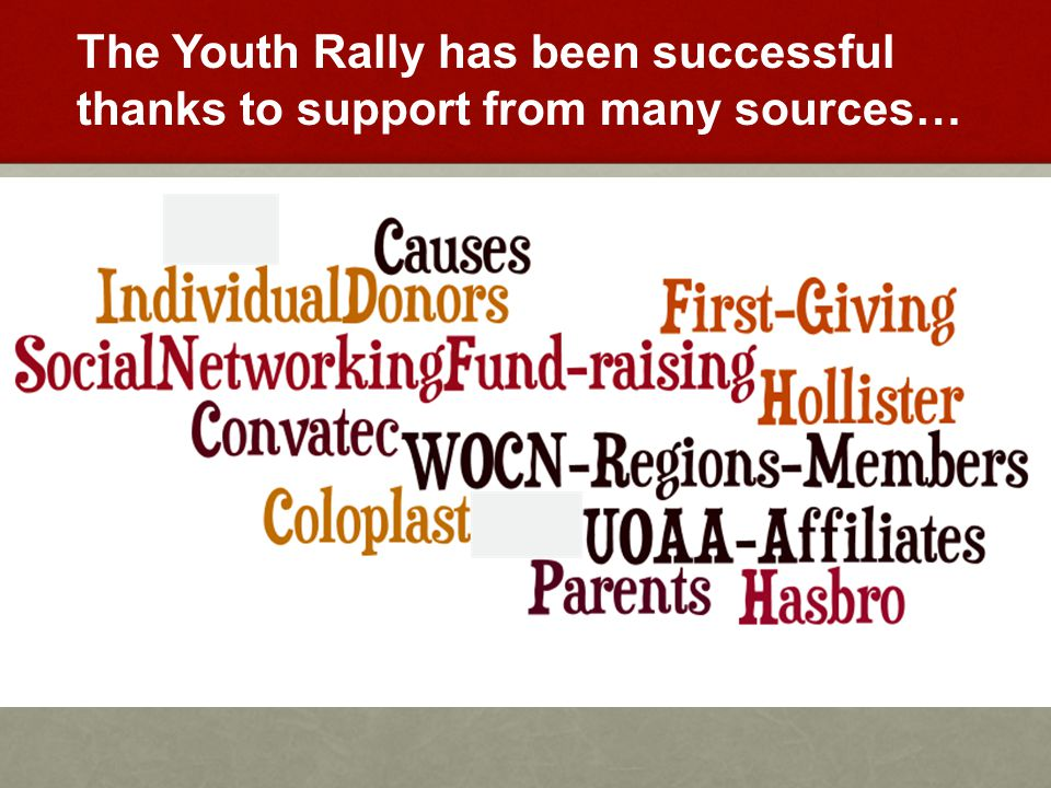The Youth Rally has been successful thanks to support from many sources…