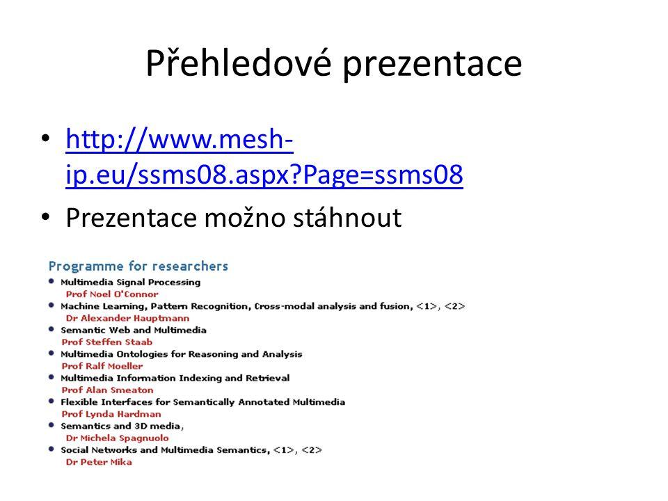 Přehledové prezentace http://www.mesh- ip.eu/ssms08.aspx Page=ssms08 http://www.mesh- ip.eu/ssms08.aspx Page=ssms08 Prezentace možno stáhnout
