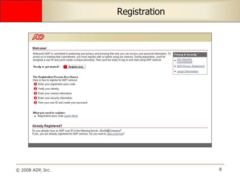© 2008 ADP, Inc. 29 Emergency Contacts