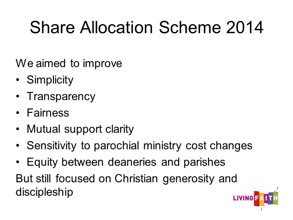 Share Allocation Scheme 2014 We aimed to improve Simplicity Transparency Fairness Mutual support clarity Sensitivity to parochial ministry cost changes Equity between deaneries and parishes But still focused on Christian generosity and discipleship