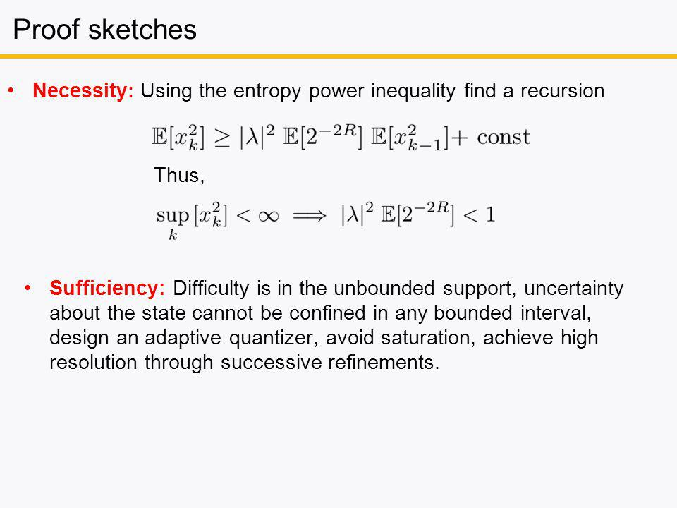 Proof sketches Necessity : Using the entropy power inequality find a recursion Thus, Sufficiency: Difficulty is in the unbounded support, uncertainty about the state cannot be confined in any bounded interval, design an adaptive quantizer, avoid saturation, achieve high resolution through successive refinements.
