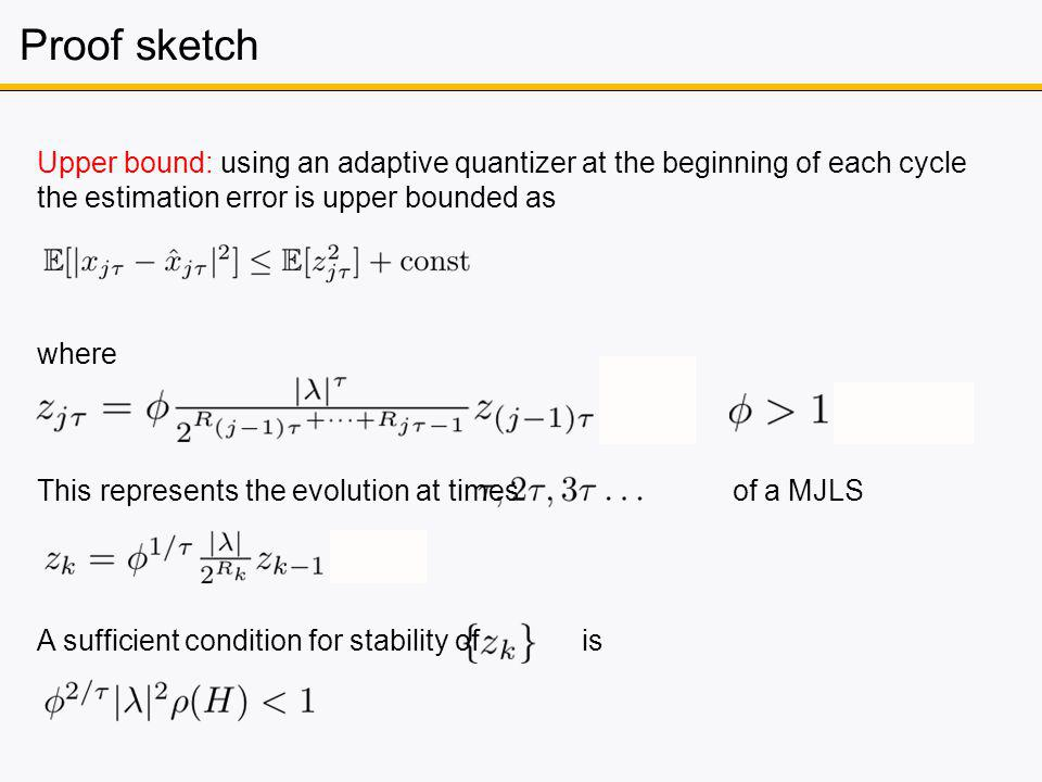 Proof sketch Upper bound: using an adaptive quantizer at the beginning of each cycle the estimation error is upper bounded as This represents the evolution at times of a MJLS where A sufficient condition for stability of is