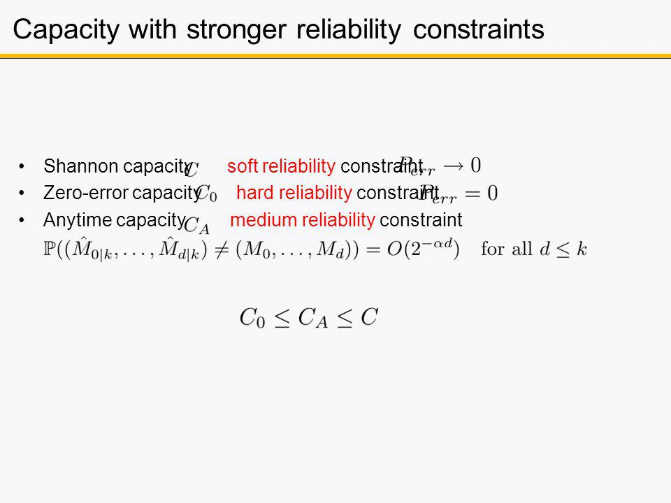Capacity with stronger reliability constraints Shannon capacity soft reliability constraint Zero-error capacity hard reliability constraint Anytime capacity medium reliability constraint