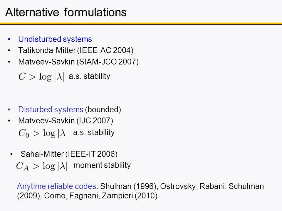 Alternative formulations Undisturbed systems Tatikonda-Mitter (IEEE-AC 2004) Matveev-Savkin (SIAM-JCO 2007) a.s. stability Anytime reliable codes: Shu