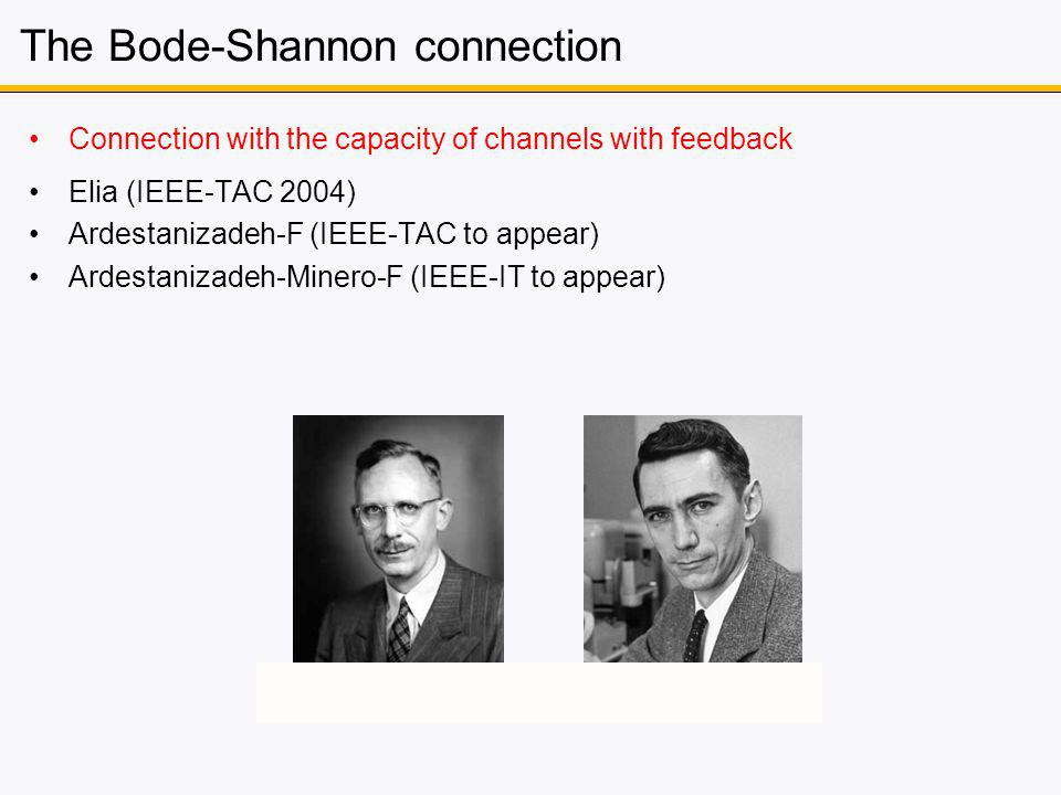 The Bode-Shannon connection Connection with the capacity of channels with feedback Elia (IEEE-TAC 2004) Ardestanizadeh-F (IEEE-TAC to appear) Ardestanizadeh-Minero-F (IEEE-IT to appear)