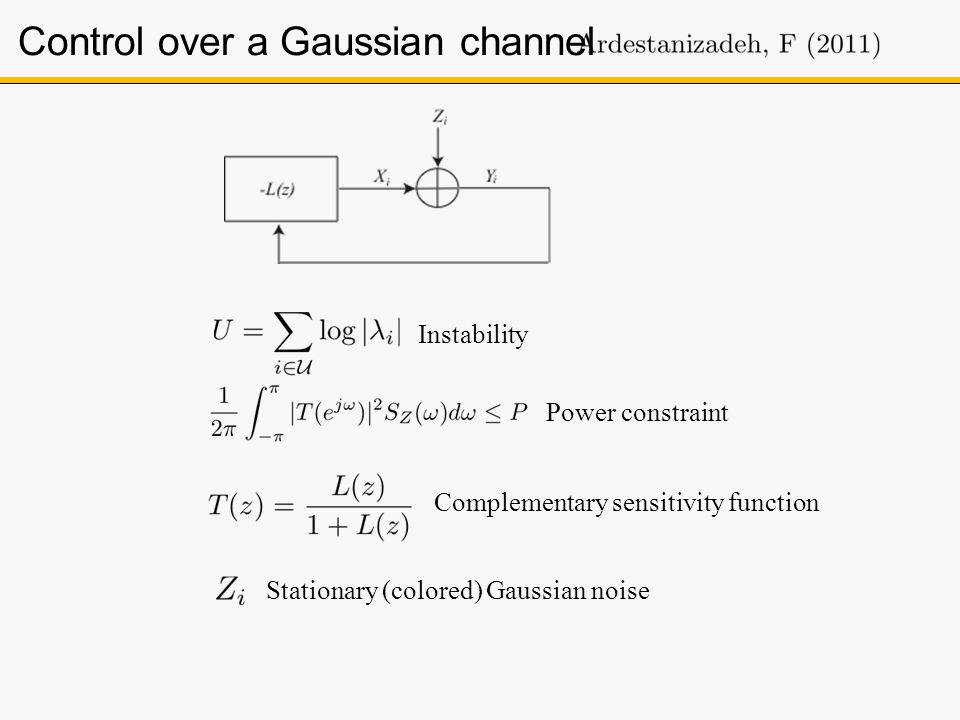 Control over a Gaussian channel Instability Power constraint Complementary sensitivity function Stationary (colored) Gaussian noise