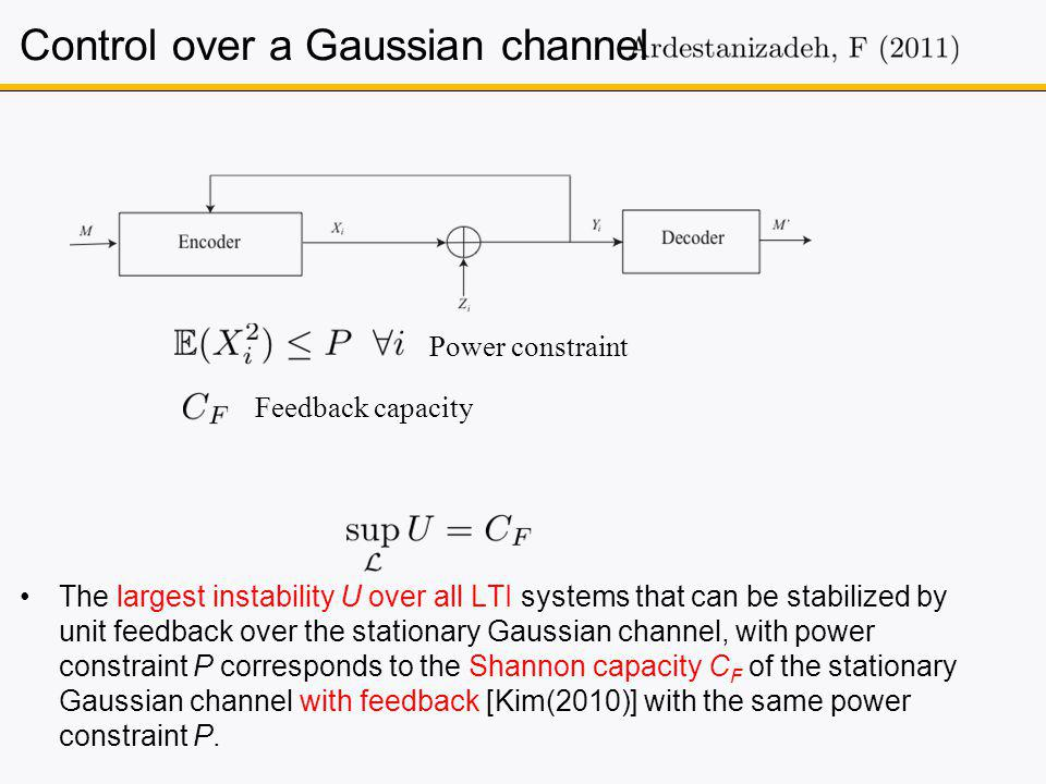 The largest instability U over all LTI systems that can be stabilized by unit feedback over the stationary Gaussian channel, with power constraint P corresponds to the Shannon capacity C F of the stationary Gaussian channel with feedback [Kim(2010)] with the same power constraint P.