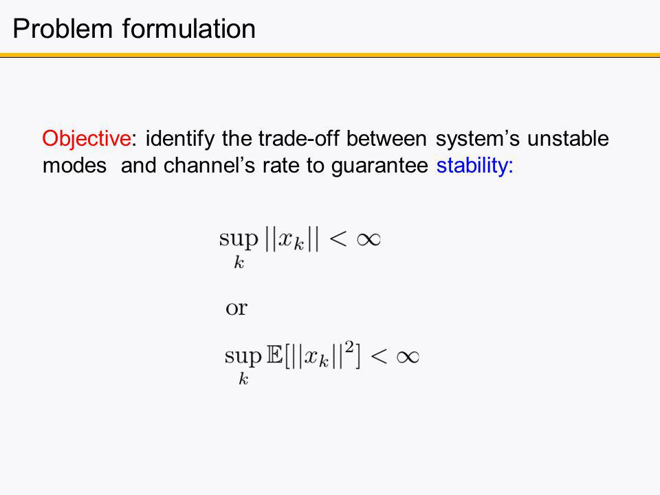 Problem formulation Objective: identify the trade-off between systems unstable modes and channels rate to guarantee stability: