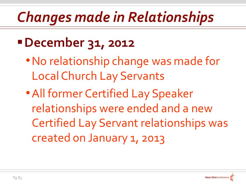 Pg 83 December 31, 2012 No relationship change was made for Local Church Lay Servants All former Certified Lay Speaker relationships were ended and a new Certified Lay Servant relationships was created on January 1, 2013 Changes made in Relationships