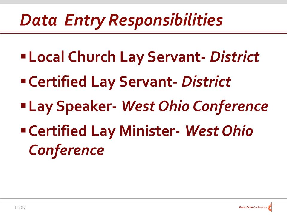 Pg 87 Local Church Lay Servant- District Certified Lay Servant- District Lay Speaker- West Ohio Conference Certified Lay Minister- West Ohio Conference Data Entry Responsibilities
