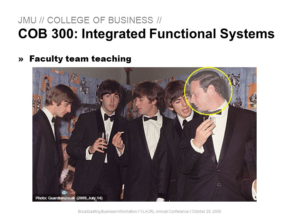 JMU // COLLEGE OF BUSINESS // COB 300: Integrated Functional Systems »Faculty team teaching Broadcasting Business Information // VLACRL Annual Confere
