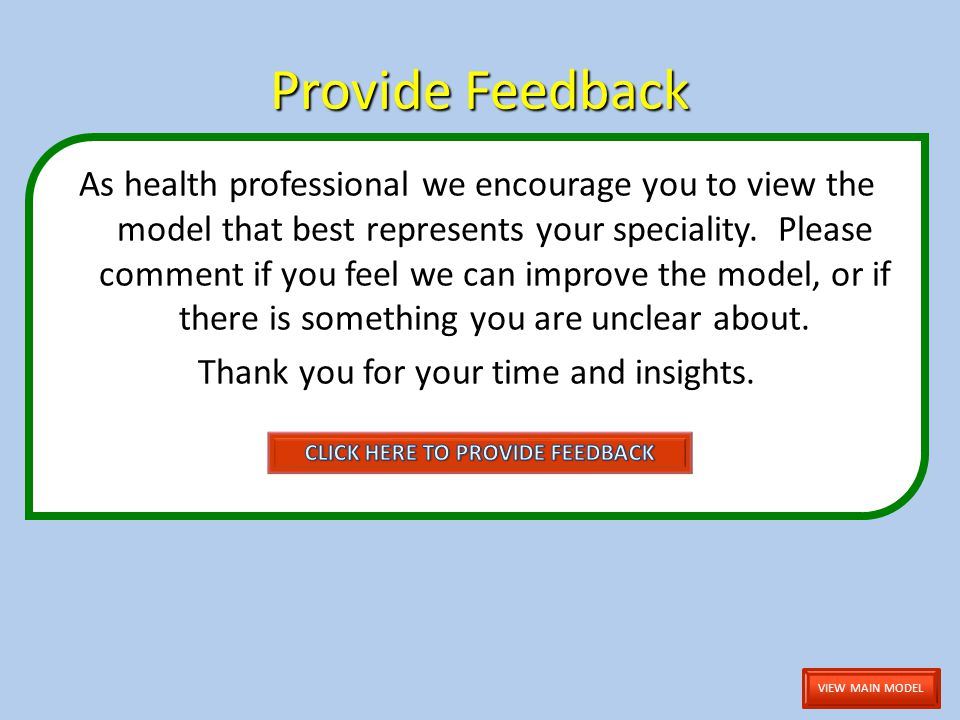 Provide Feedback As health professional we encourage you to view the model that best represents your speciality.