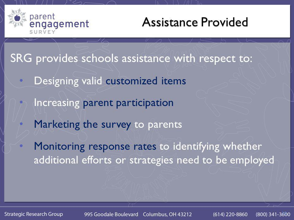 Assistance Provided SRG provides schools assistance with respect to: Designing valid customized items Increasing parent participation Marketing the survey to parents Monitoring response rates to identifying whether additional efforts or strategies need to be employed 10