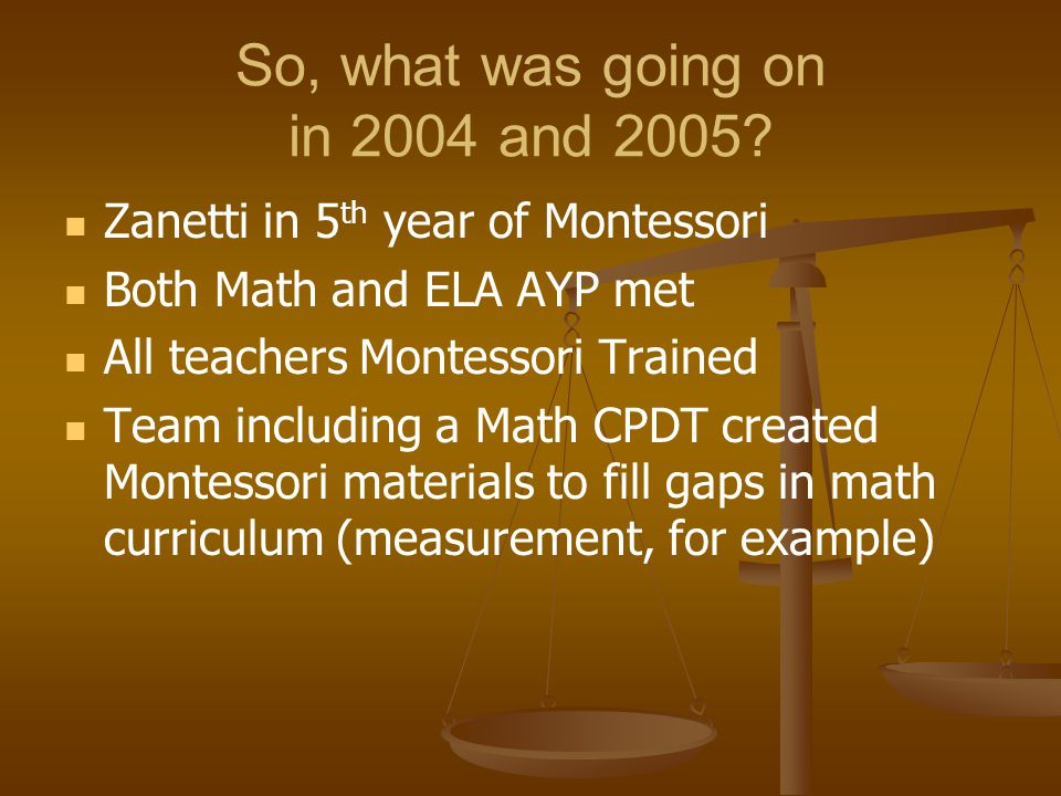 So, what was going on in 2004 and 2005? Zanetti in 5 th year of Montessori Both Math and ELA AYP met All teachers Montessori Trained Team including a