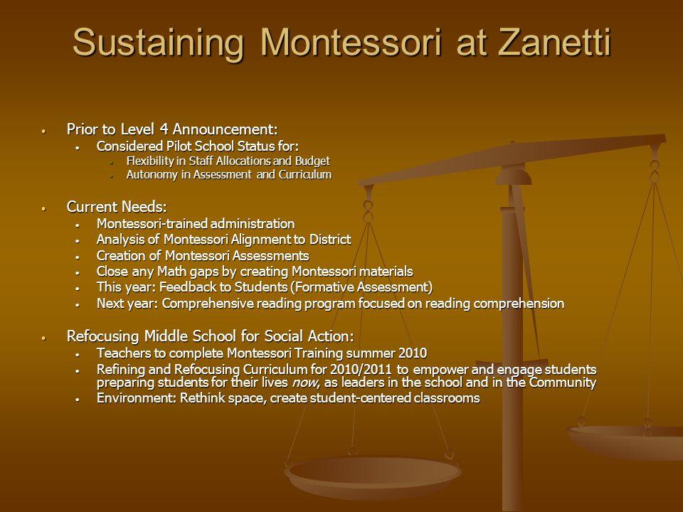 Sustaining Montessori at Zanetti Prior to Level 4 Announcement: Prior to Level 4 Announcement: Considered Pilot School Status for: Considered Pilot Sc