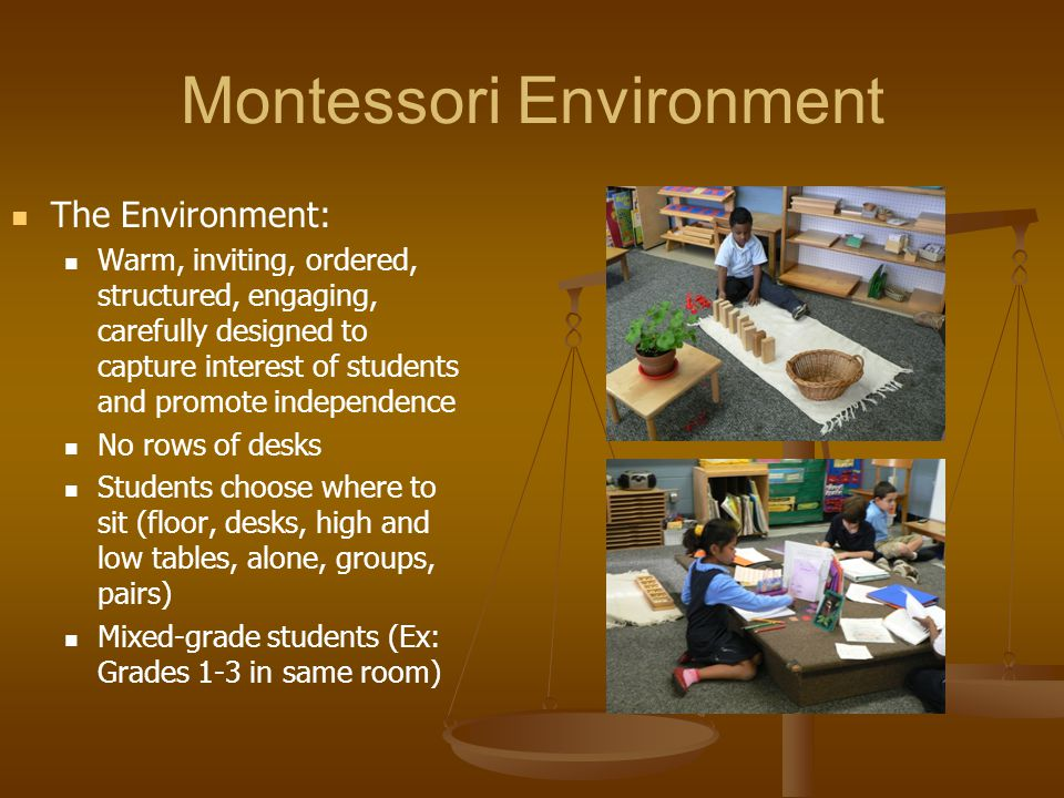 Montessori Environment The Environment: Warm, inviting, ordered, structured, engaging, carefully designed to capture interest of students and promote
