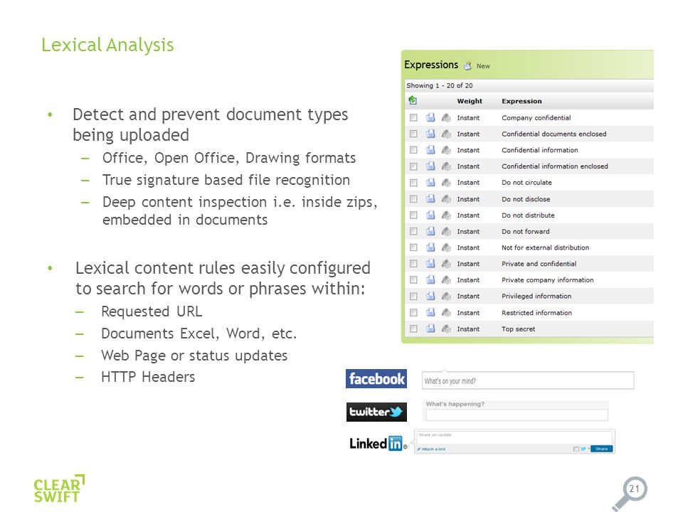 Lexical Analysis 21 Detect and prevent document types being uploaded – Office, Open Office, Drawing formats – True signature based file recognition – Deep content inspection i.e.