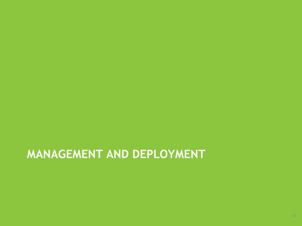 MANAGEMENT AND DEPLOYMENT 30