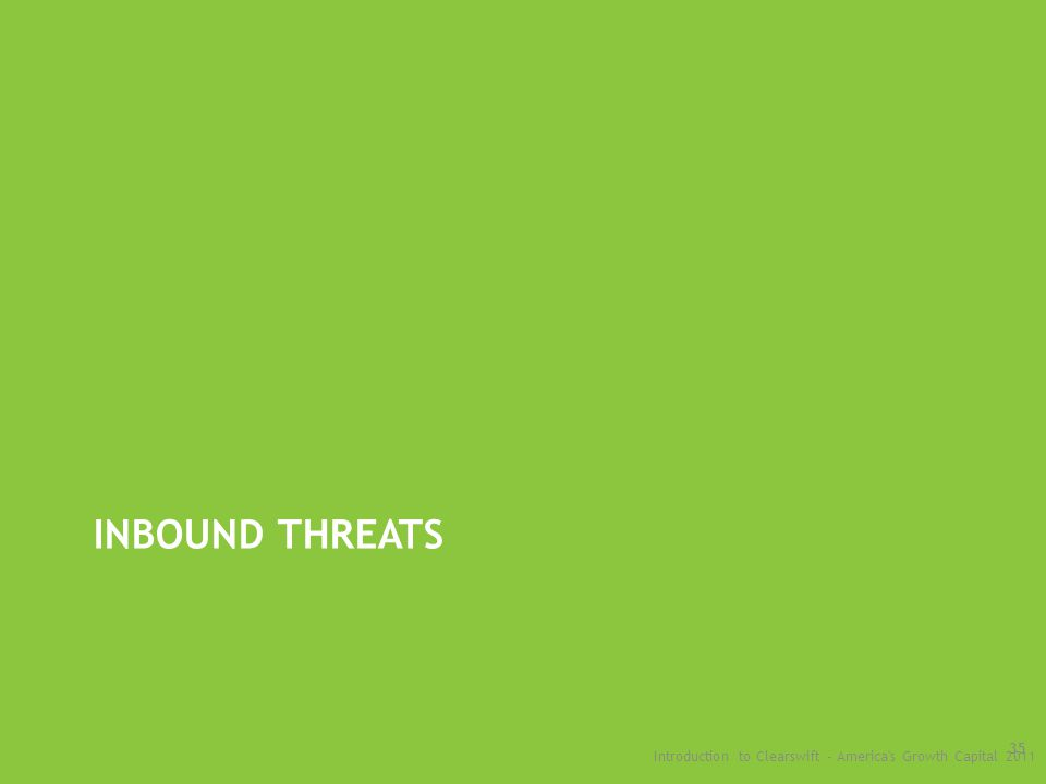 INBOUND THREATS Introduction to Clearswift - America s Growth Capital 2011 35