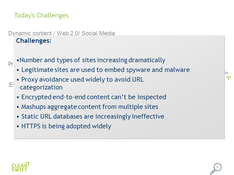 Today s Challenges 8 Even (large) trusted websites are being exploited Large sites, with lots of traffic are the ideal way to spread malware.