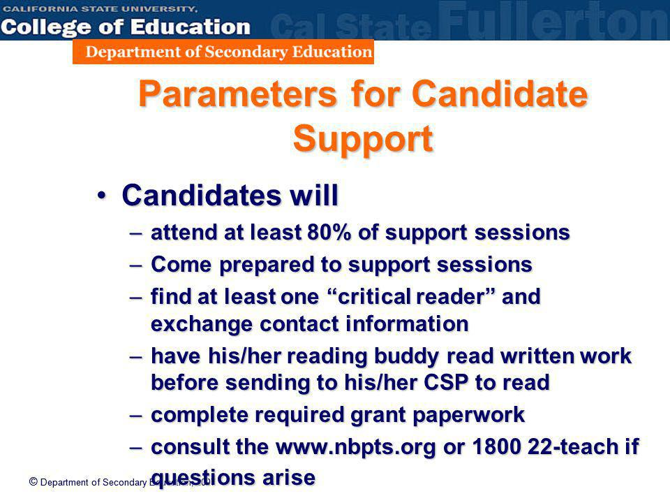 © Department of Secondary Education, 2007 Parameters for Candidate Support Candidates willCandidates will –attend at least 80% of support sessions –Co