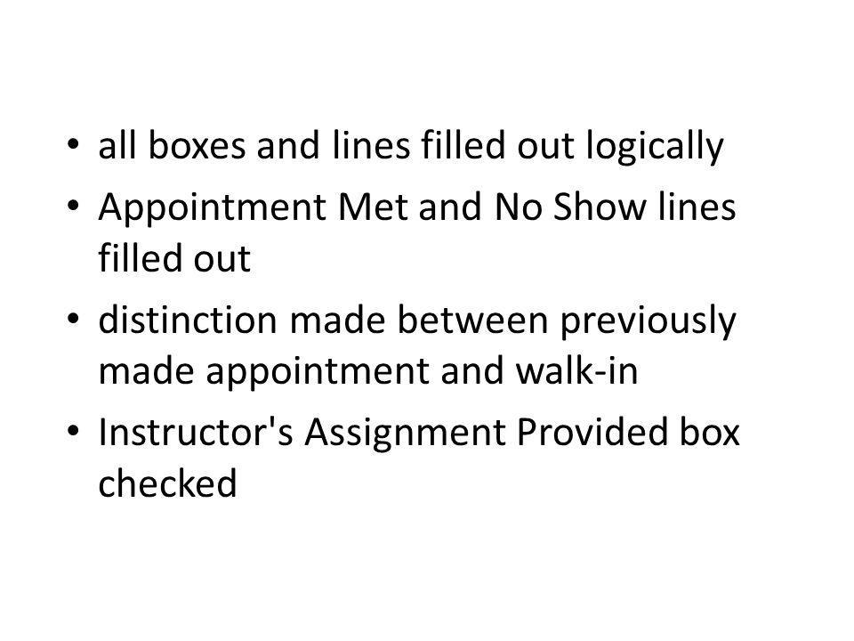 all boxes and lines filled out logically Appointment Met and No Show lines filled out distinction made between previously made appointment and walk-in Instructor s Assignment Provided box checked