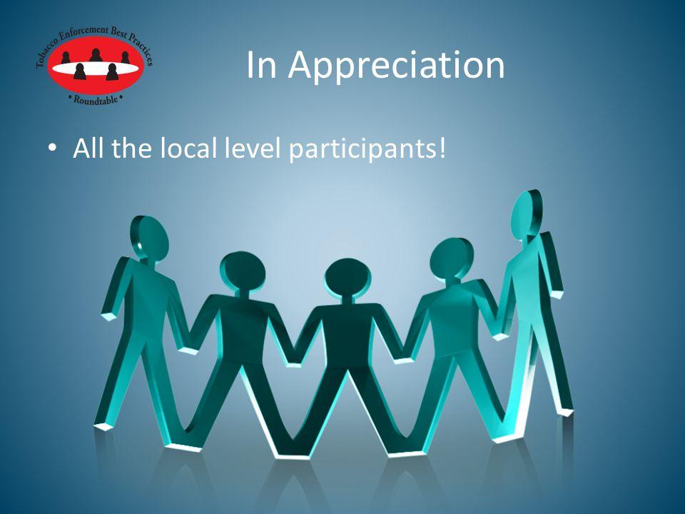 In Appreciation All the local level participants!