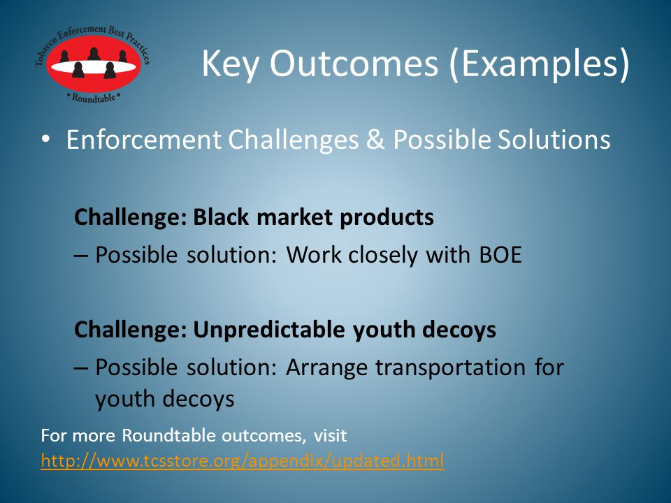 Key Outcomes (Examples) Enforcement Challenges & Possible Solutions Challenge: Black market products – Possible solution: Work closely with BOE Challenge: Unpredictable youth decoys – Possible solution: Arrange transportation for youth decoys For more Roundtable outcomes, visit http://www.tcsstore.org/appendix/updated.html http://www.tcsstore.org/appendix/updated.html
