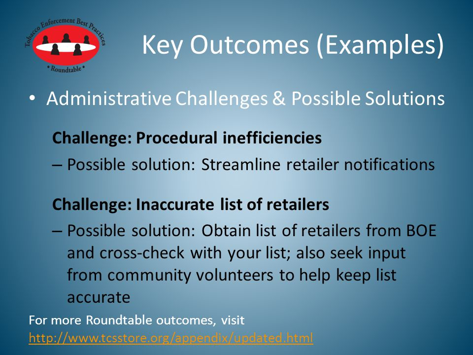 Key Outcomes (Examples) Administrative Challenges & Possible Solutions Challenge: Procedural inefficiencies – Possible solution: Streamline retailer notifications Challenge: Inaccurate list of retailers – Possible solution: Obtain list of retailers from BOE and cross-check with your list; also seek input from community volunteers to help keep list accurate For more Roundtable outcomes, visit http://www.tcsstore.org/appendix/updated.html http://www.tcsstore.org/appendix/updated.html