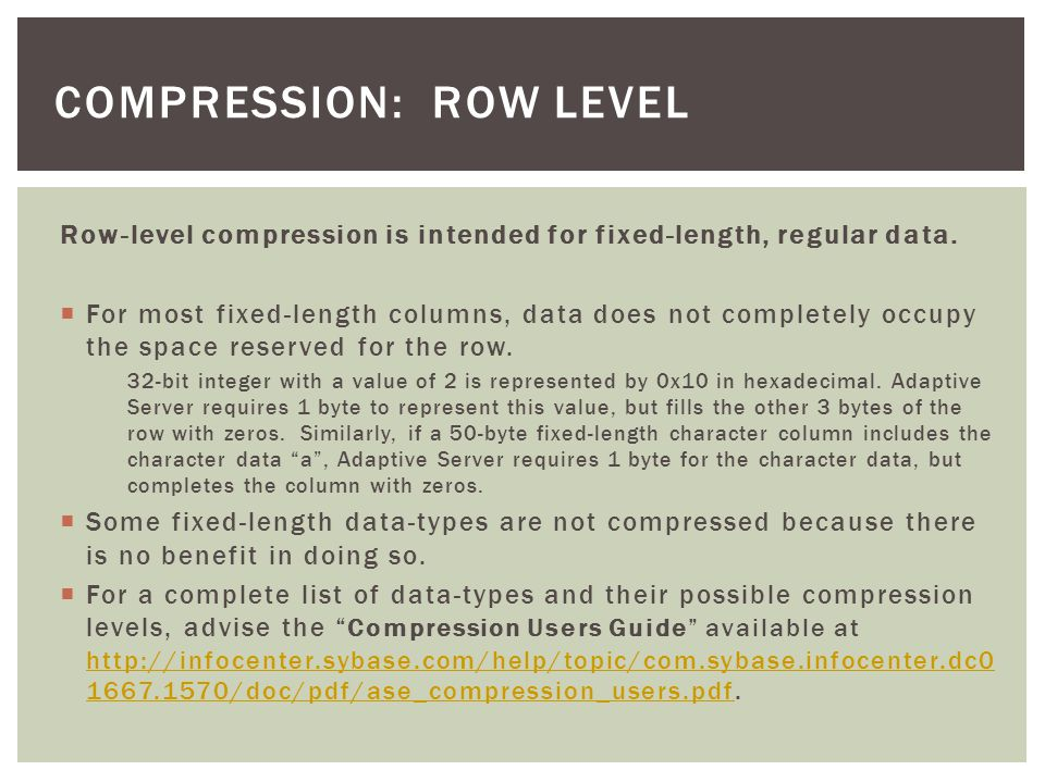 I have summarized below Statistics IO/Time details when working with different compression levels for inserts, updates, selects and index creation on the same sample table.
