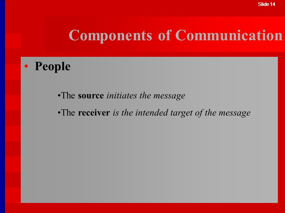 Slide 14 Components of Communication The source initiates the message The receiver is the intended target of the message Slide 14 People