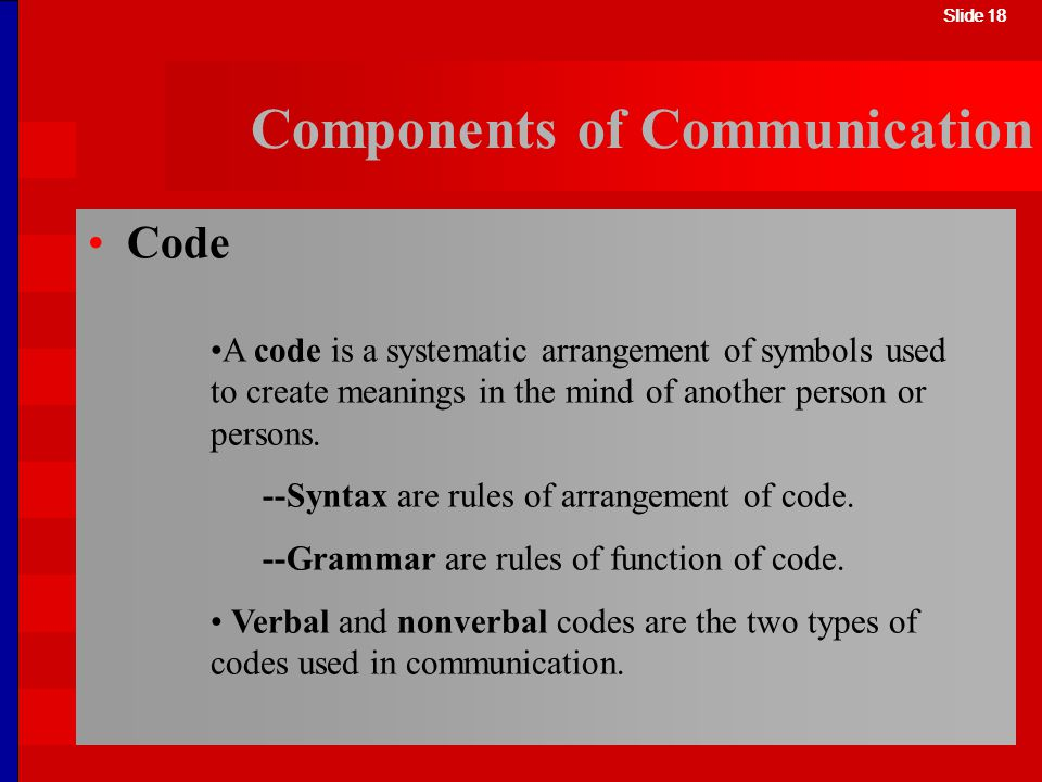Slide 18 Components of Communication A code is a systematic arrangement of symbols used to create meanings in the mind of another person or persons. -