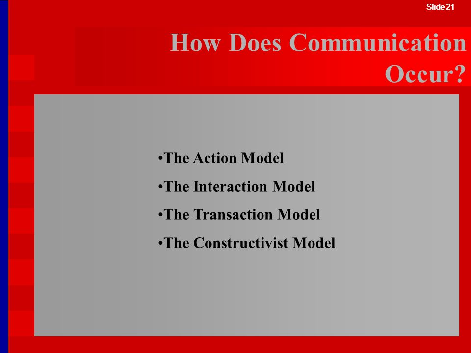 Slide 21 How Does Communication Occur? The Action Model The Interaction Model The Transaction Model The Constructivist Model Slide 21