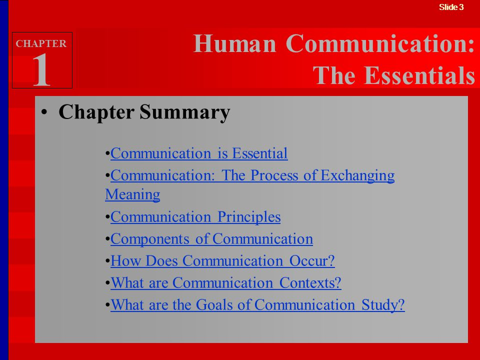 Slide 3 Chapter Summary Human Communication: The Essentials Communication is Essential Communication: The Process of Exchanging MeaningCommunication: