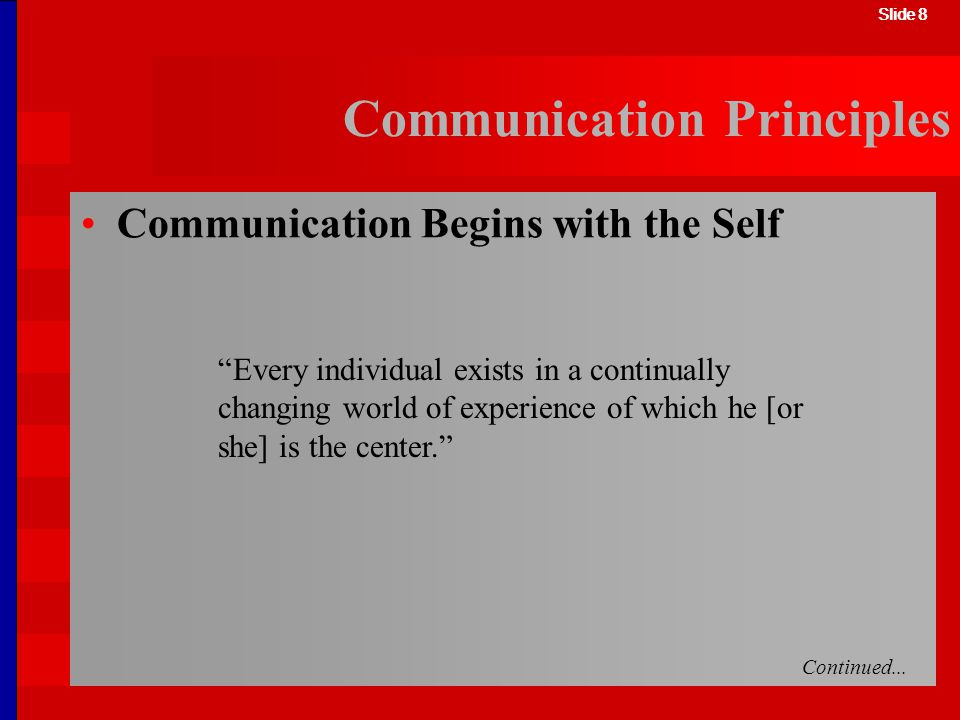 Slide 8 Communication Principles Every individual exists in a continually changing world of experience of which he [or she] is the center. Slide 8 Com