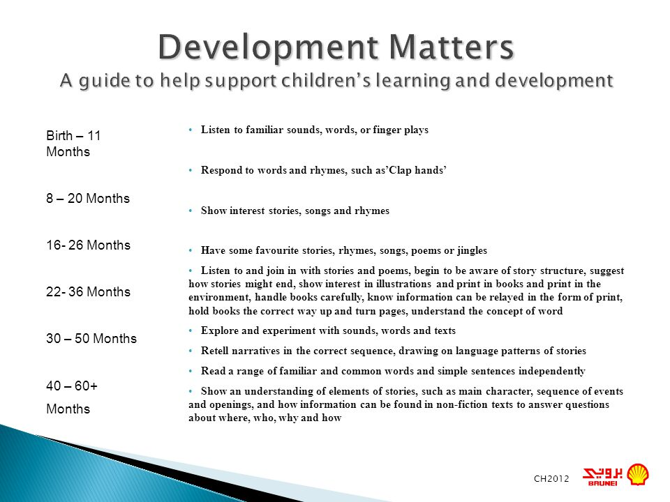 Development Matters A guide to help support childrens learning and development CH2012 Listen to familiar sounds, words, or finger plays Respond to wor