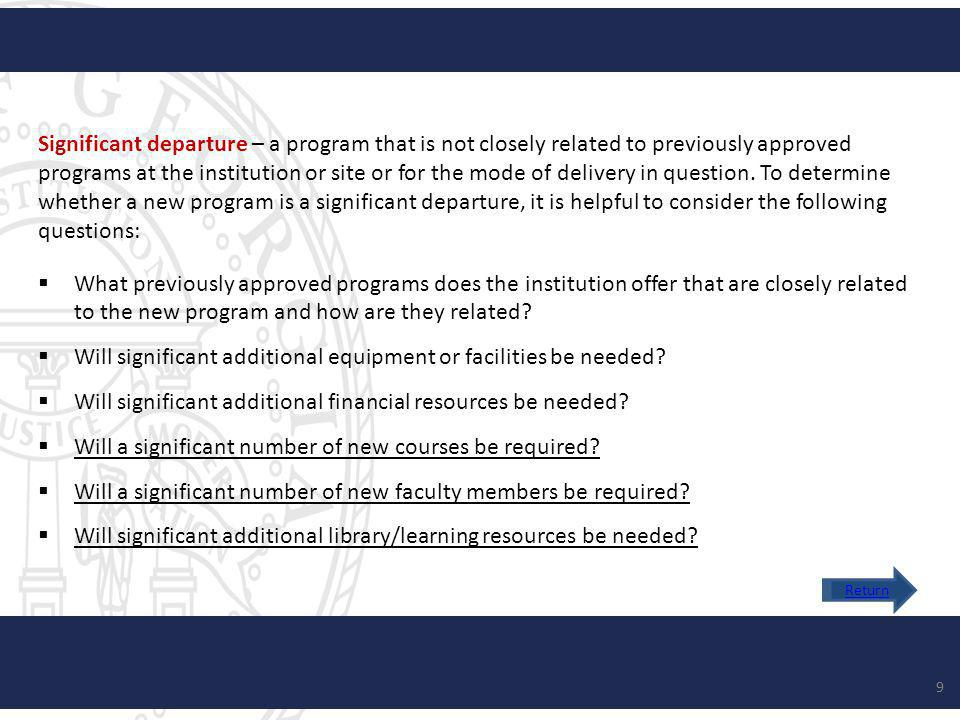 Significant departure – a program that is not closely related to previously approved programs at the institution or site or for the mode of delivery in question.