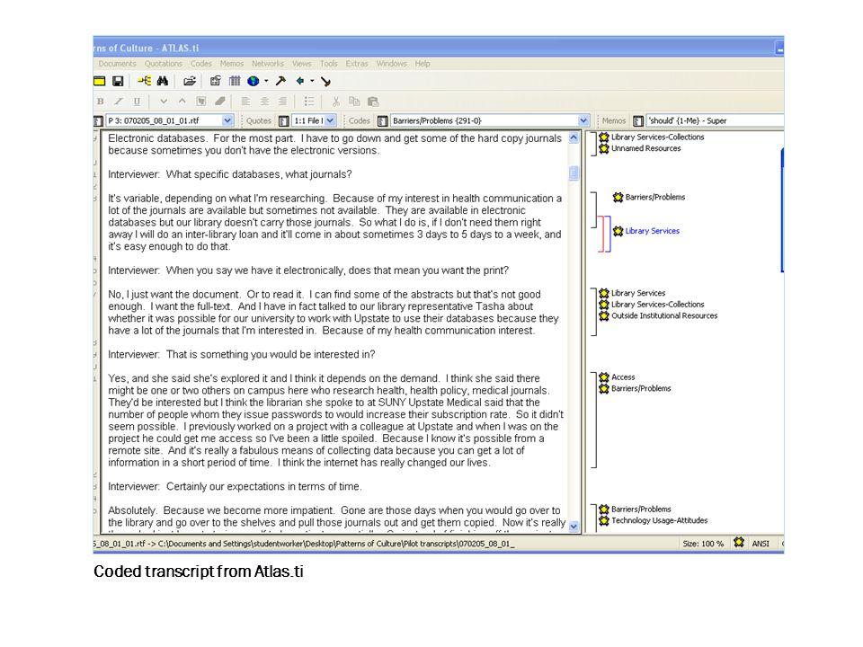 Coded transcript from Atlas.ti