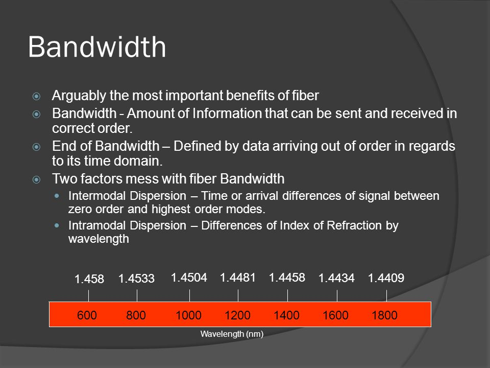 Bandwidth Arguably the most important benefits of fiber Bandwidth - Amount of Information that can be sent and received in correct order. End of Bandw