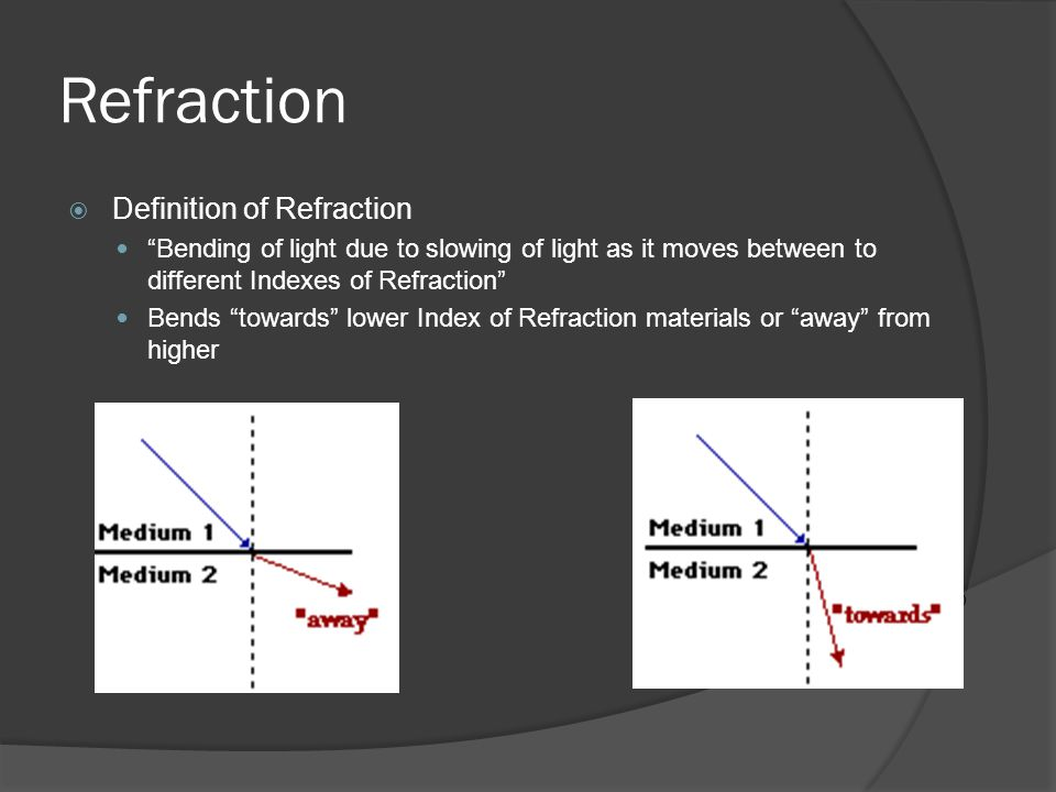 Refraction Definition of Refraction Bending of light due to slowing of light as it moves between to different Indexes of Refraction Bends towards lowe