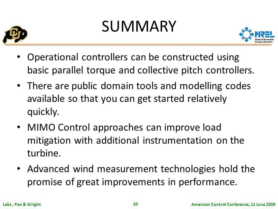 American Control Conference, 11 June 2009 Laks, Pao & Wright 20 SUMMARY Operational controllers can be constructed using basic parallel torque and collective pitch controllers.