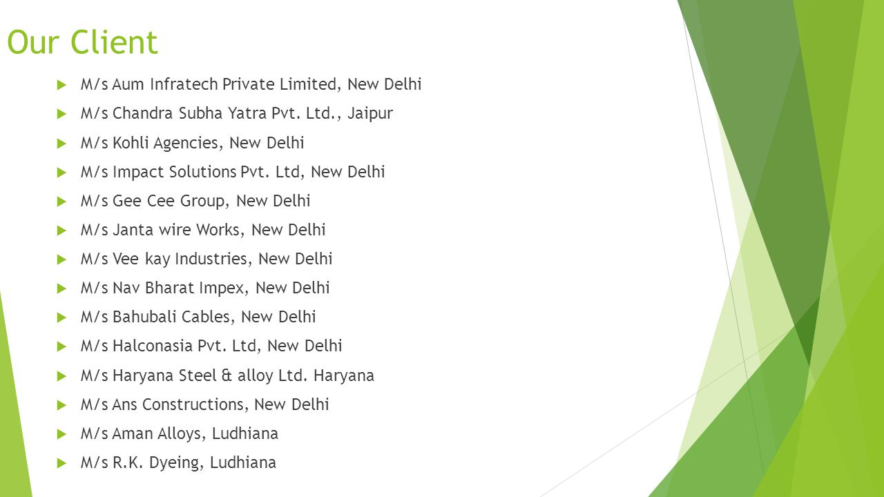 Our Client Government Sectors Rashtriya Chemicals and Fertilizers Limited, a Govt. undertaking controlled by the ministry of chemical and fertilizer C