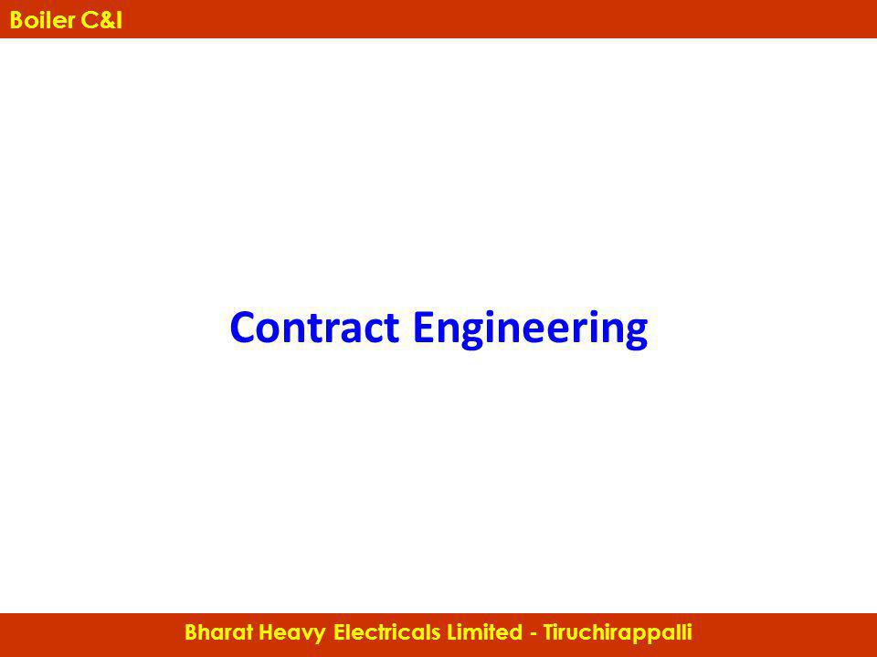 Contract Engineering Boiler Controls & Instrumentation Bharat Heavy Electricals Limited - Tiruchirappalli Boiler C&I