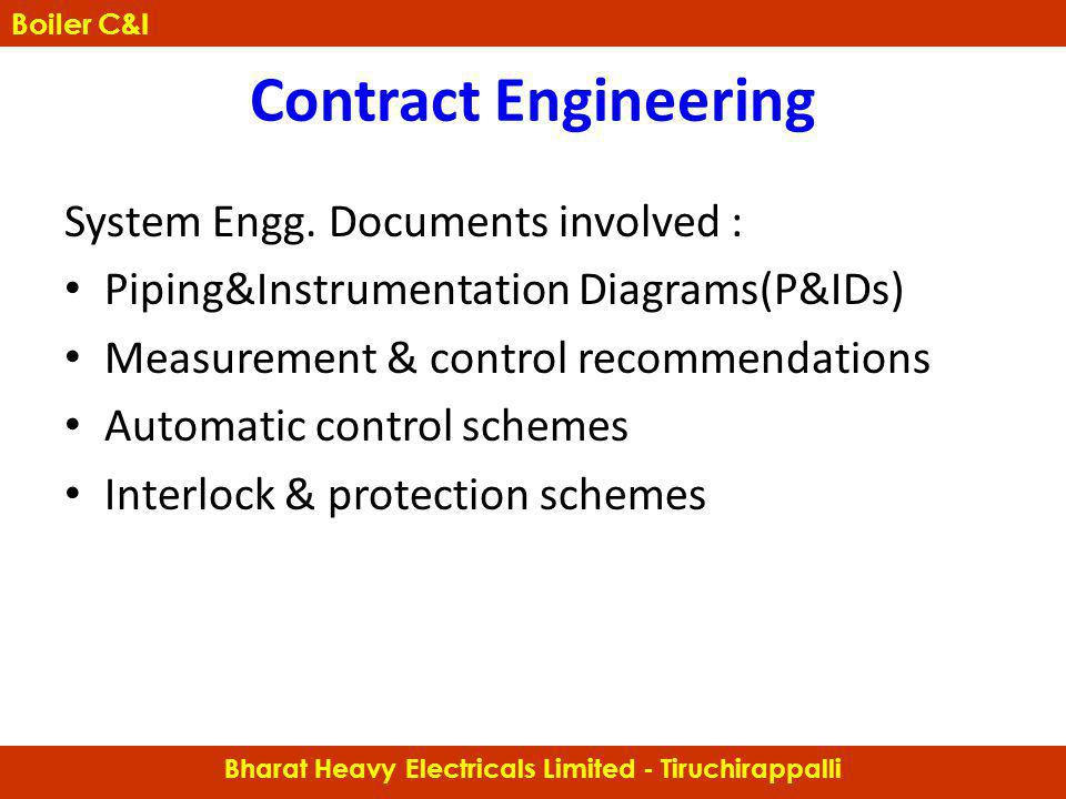 System Engg. Documents involved : Piping&Instrumentation Diagrams(P&IDs) Measurement & control recommendations Automatic control schemes Interlock & p