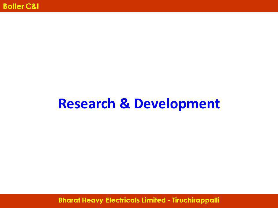 Research & Development Boiler Controls & Instrumentation Bharat Heavy Electricals Limited - Tiruchirappalli Boiler C&I