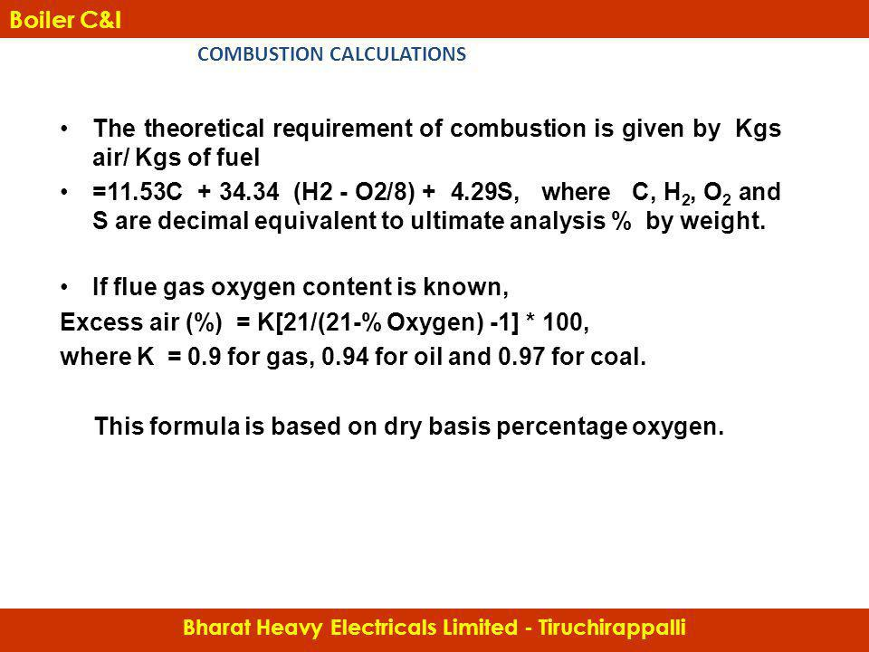 The theoretical requirement of combustion is given by Kgs air/ Kgs of fuel =11.53C + 34.34 (H2 - O2/8) + 4.29S, where C, H 2, O 2 and S are decimal eq