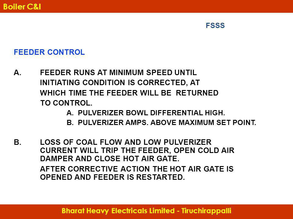 FEEDER CONTROL A.FEEDER RUNS AT MINIMUM SPEED UNTIL INITIATING CONDITION IS CORRECTED, AT WHICH TIME THE FEEDER WILL BE RETURNED TO CONTROL. A. PULVER