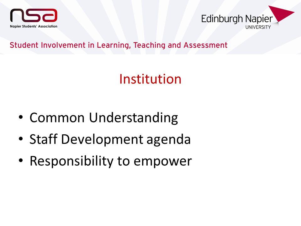 Institution Common Understanding Staff Development agenda Responsibility to empower